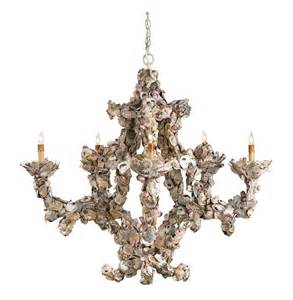 Chandelier Shell Oyster Shell Nautical 5 Light Chandelier Kathy Kuo Home