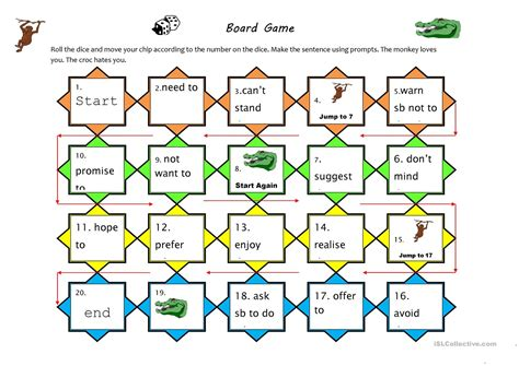 verb pattern of like verb pattern board game worksheet free esl printable