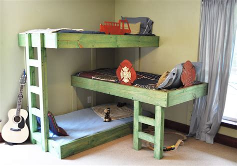 how to build a loft bed for kids the handmade dress triple bunk bed plans