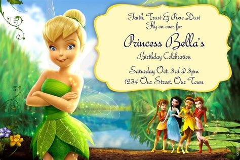 free printable disney fairies birthday invitations tinkerbell invitations digilal file by simplymadebymsb on etsy