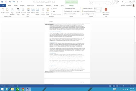 design header footer word document how to add page numbers and a table of contents to word