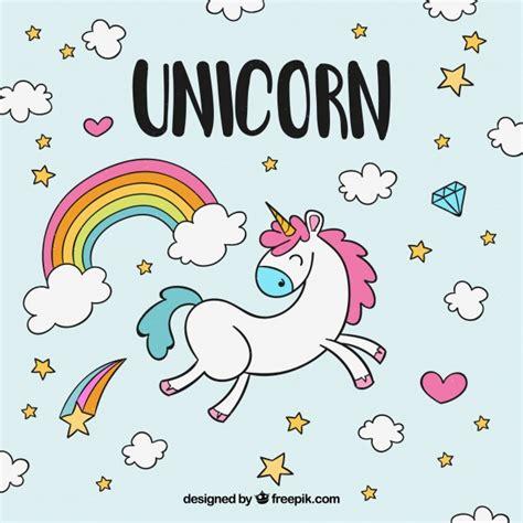 fondo de unicornio feliz brillante descargar vectores gratis fondo dibujado a mano de unicornio feliz con nubes y