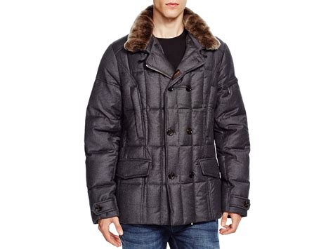 Quilted Fur Jacket by Moorer Fur Trim Quilted Jacket In Gray Anthracite