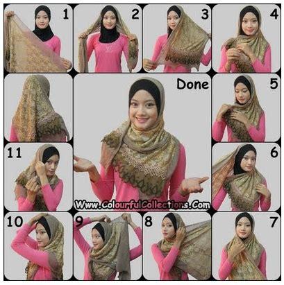 Jilbab Instan Najwa Sifon cara memakai jilbab selendang rumbai tutorial memakai