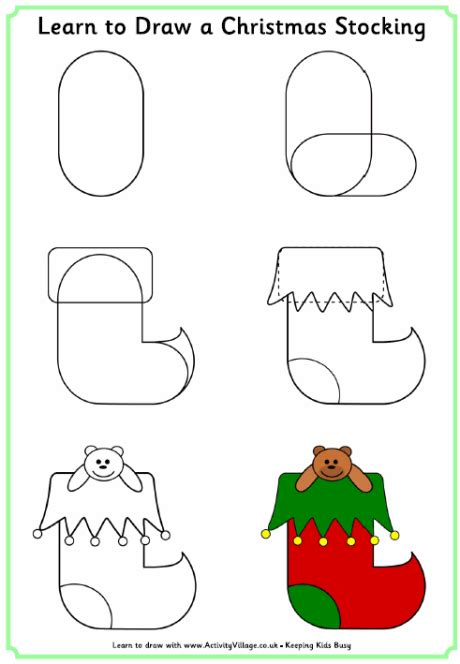 learn to draw a christmas stocking