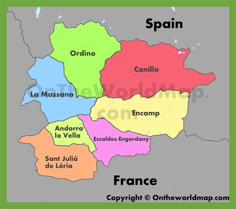 where is andorra on the map administrative map of andorra