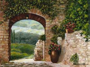 Kitchen Backsplash Mural tuscan arch painting tuscan arch fine art print