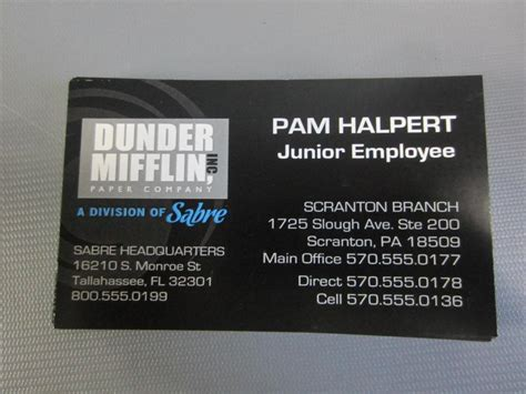 the office business card template the office pam halpert fischer production used large