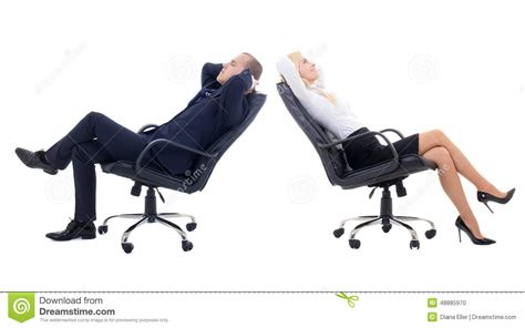 business woman  business man sitting  office chairs isolate stock photo image  chair
