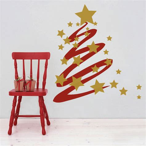 Wall Stickers Tree Branches modern christmas tree and stars wall decal trendy wall
