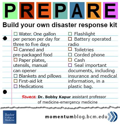 build your own disaster kit baylor college of medicine network