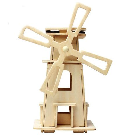 Handmade Windmill - 2016 diy windmill wooden solar powered toys gift