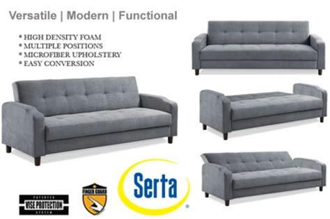 futon reno grey convertible futon sofa bed sleeper reno modern