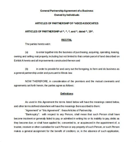 free business partnership agreement template 12 partnership agreement templates free sle exle