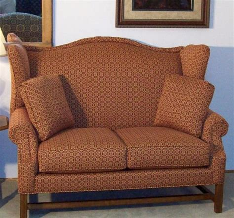 high back settee with arms star homespun high wing back settee with rolled arms