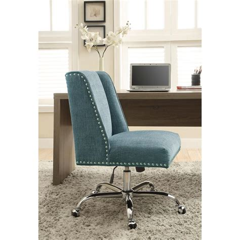 linon home decor linon home decor draper aqua polyester office chair
