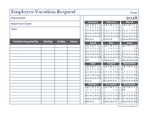 vacation template staff tracker template 2017 lifehacked1st