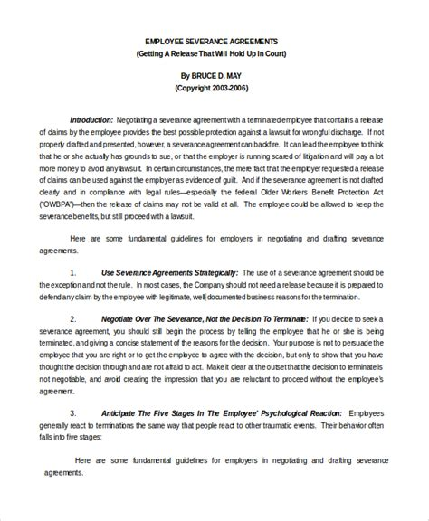 employment separation agreement 10 employment separation agreements sle templates
