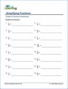 simplify fractions worksheet 5th grade equivalent