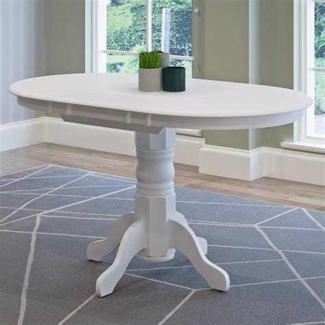 Corliving Dillon White Wood Extendable Oval Pedestal Oval Pedestal Dining Table