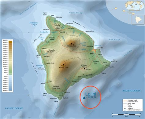 large detailed physical map of big island of hawaii with