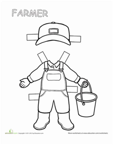 Farmer Template Preschool Farmer Paper Doll Worksheet Education Com