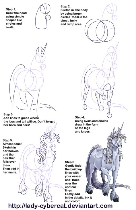unicorn tutorial how to draw a unicorn tutorial 2 by cybercat on