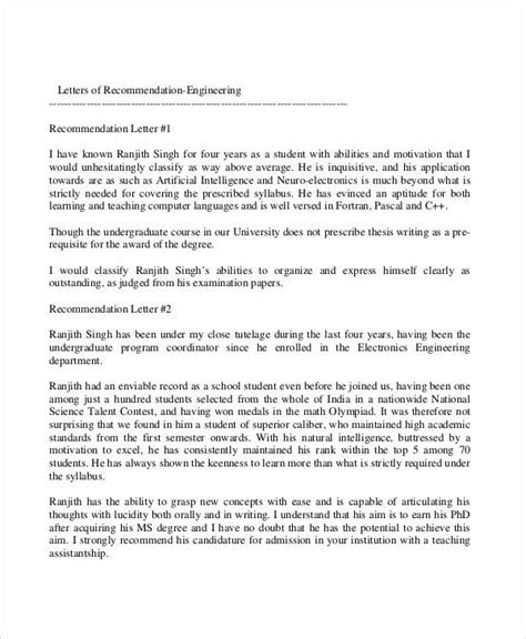 Reference Letter Engineer exles of recommendation letter