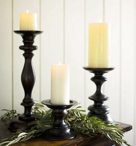 turned wood pillar holders traditional candles and candle
