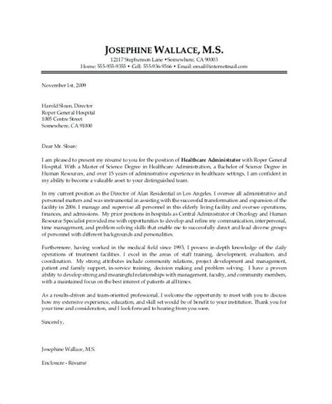 cover letter for hospital administration sle healthcare administration cover letter