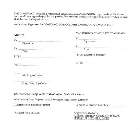 commission contract template 9 download free documents