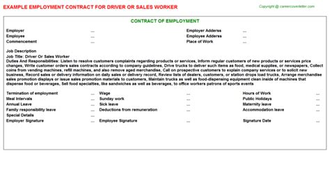 Contract Letter For Driver Driver Or Sales Worker Employment Contract Sle