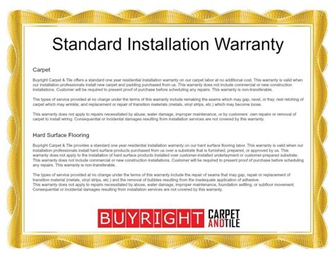 1 Year Commercial Warranty For Flooring And Installation Sle - standard installation warranty oregon city carpet