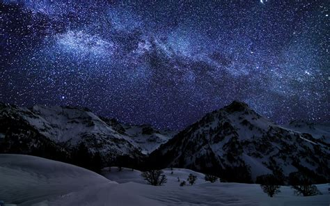 hd mountains milky  galaxy stars light show