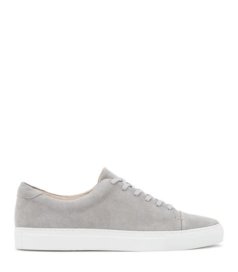 light grey suede boots lyst reiss dan suede lace up sneakers in gray for men