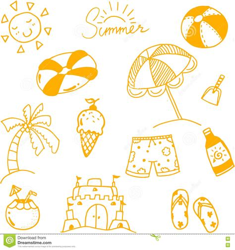 summer doodle free vector draw summer doodle stock vector image 71698864