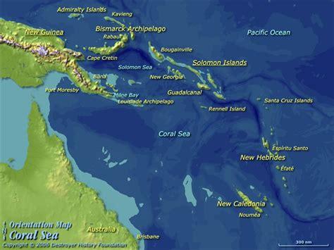 coral sea map map of coral sea travelquaz