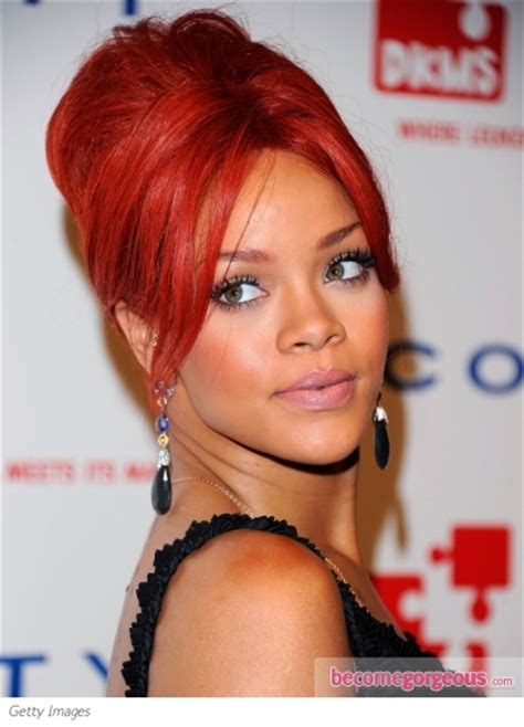 rihanna french twist updo hairstyle with wispy bangs hairstyle haircut collection by emily lindsay