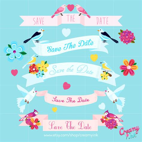 Wedding Banner With Date by Wedding Banner Save The Date Digital Vector Clip