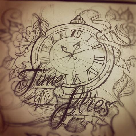 time flies tattoo time flies design sketch time timeflies