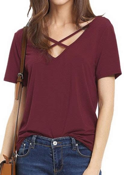 solid criss cross  neck short sleeve  shirt fairyseason