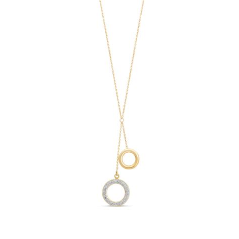 Drop Necklace 9ct gold plain and glitter circle y drop necklace fields ie