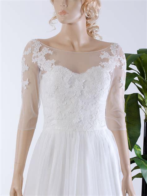 Wedding Jackets by Illusion Tulle Alencon Lace Wedding Jacket Wj036