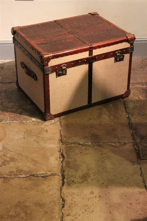 bespoke crocodile and hessian coffee table trunk