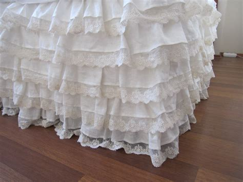 ruffled bed skirts linen bed skirt ivory lace waterfall ruffled bedding bedskirt