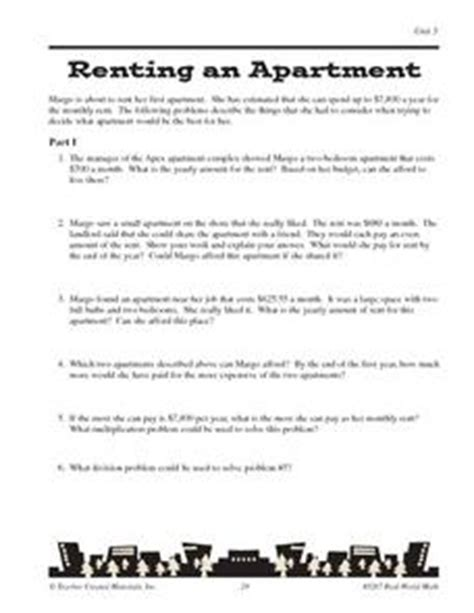 steps to renting an apartment math word problems worksheets 9th grade two step