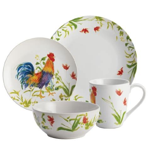 bonjour 16 piece dinnerware meadow rooster stoneware set new ebay