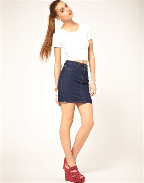 american apparel high waist denim skirt in blue denim lyst