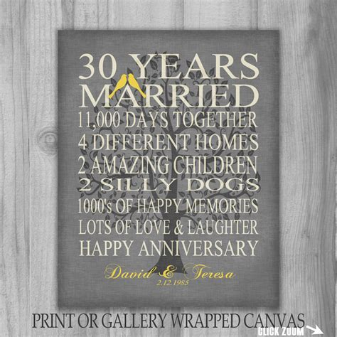 30 year anniversary family tree birds gift by