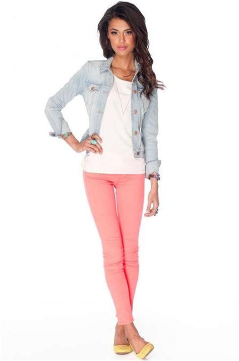 light pink skinny jeans 25 best ideas about color jeans on pinterest color
